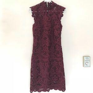 Burgundy shoulder capped dress